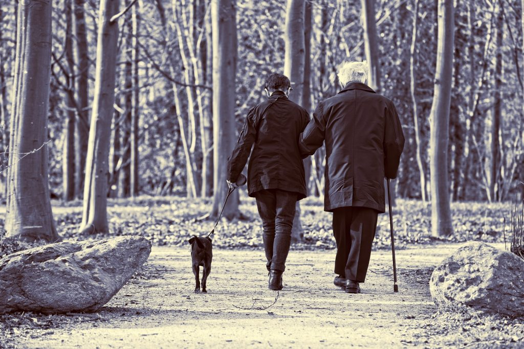 Picture of an elderly couple walking arm-in-arm.